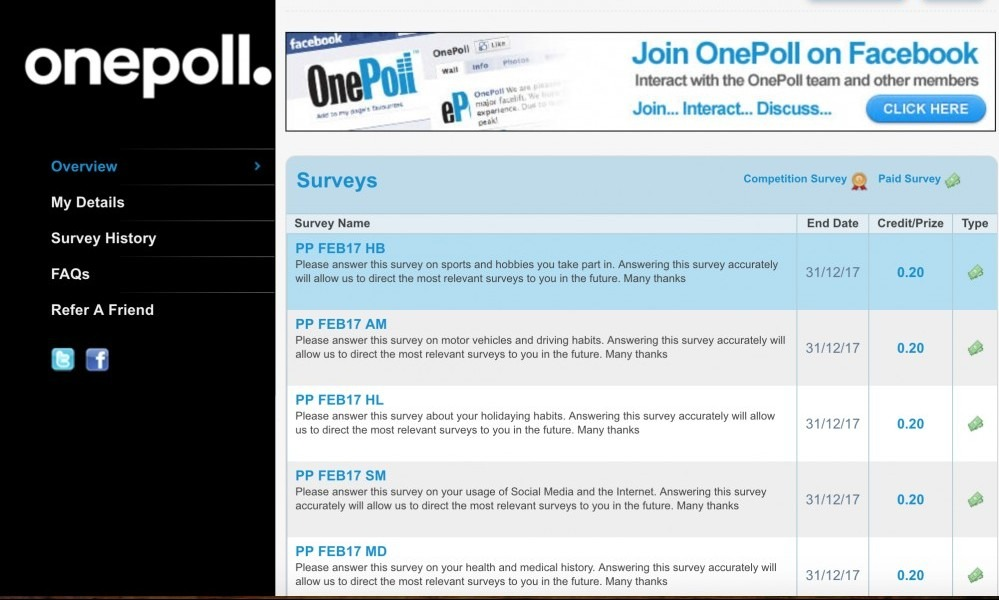 Available Surveys on OnePoll