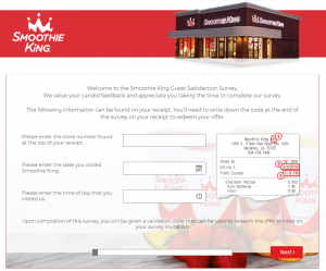 Smoothie King Feedback - Smoothie King Guest Satisfaction Survey