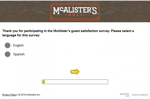 TalkToMcAlisters - McAlister's guest satisfaction survey