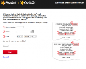 TellHappyStar - Hardee's and Carl's Jr. Customer Satisfaction Survey