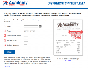 AcademyFeedback - Academy Sports + Outdoors Customer Satisfaction Survey