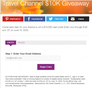 Travel Channel Sweepstakes Review