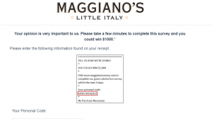 Maggiano's Survey Review